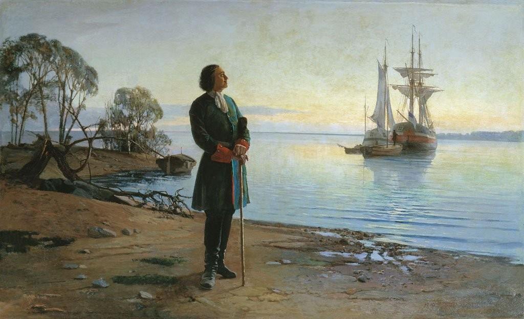 Pedro I mira al futuro con una metáfora de la Armada Rusa tras él. Desde el 30 de octubre de 1696 esta fue reconocida legalmente por la Duma. Fuente: battlebrotherhood.com