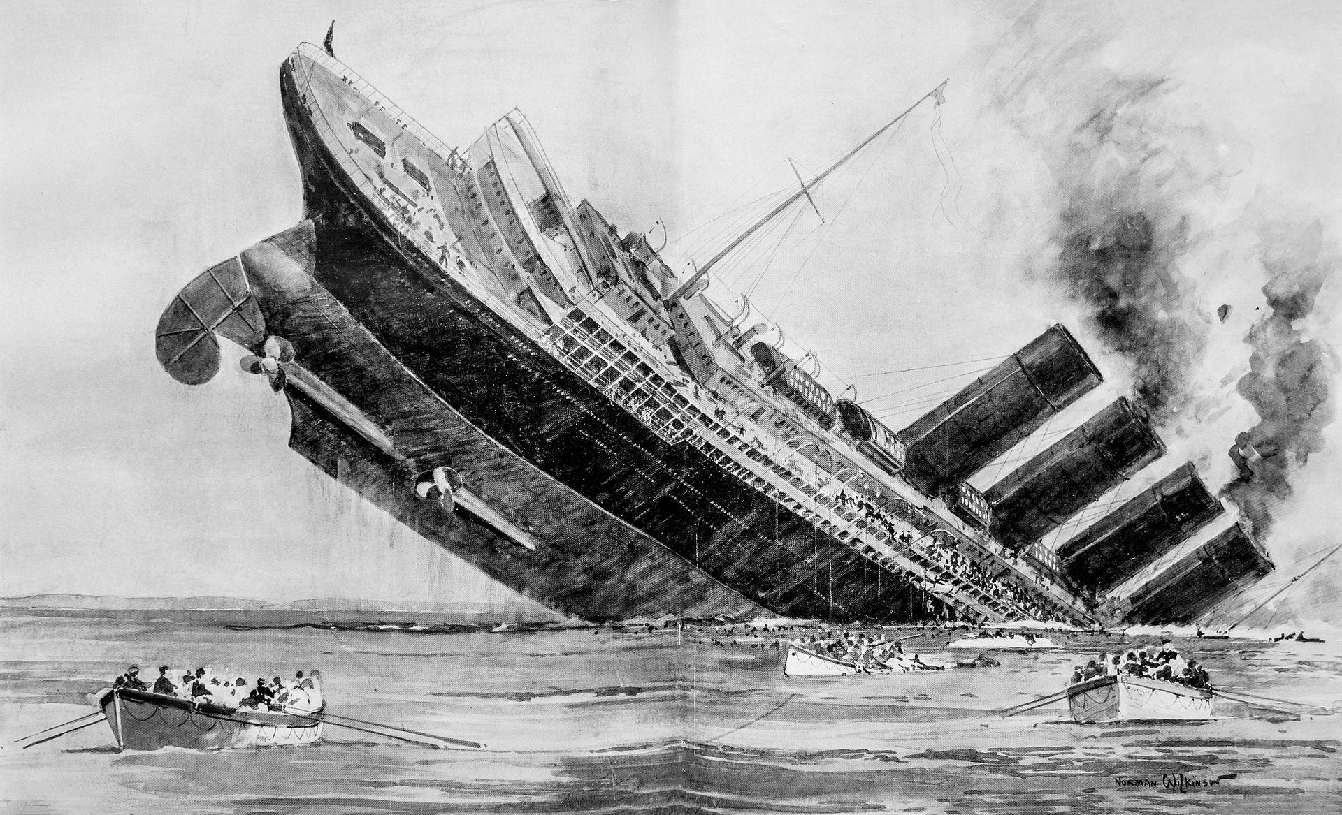 El hundimiento del Lusitania, London Illustrated News. Fuente: Wikimedia.