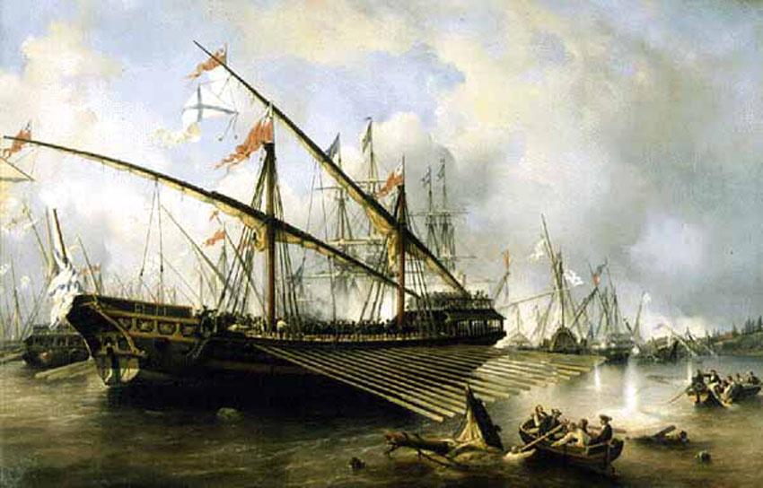Una galera con pabellón de la Armada Rusa. [Si conocéis autor, ubicación y demás información de la pintura, os la agradecería].