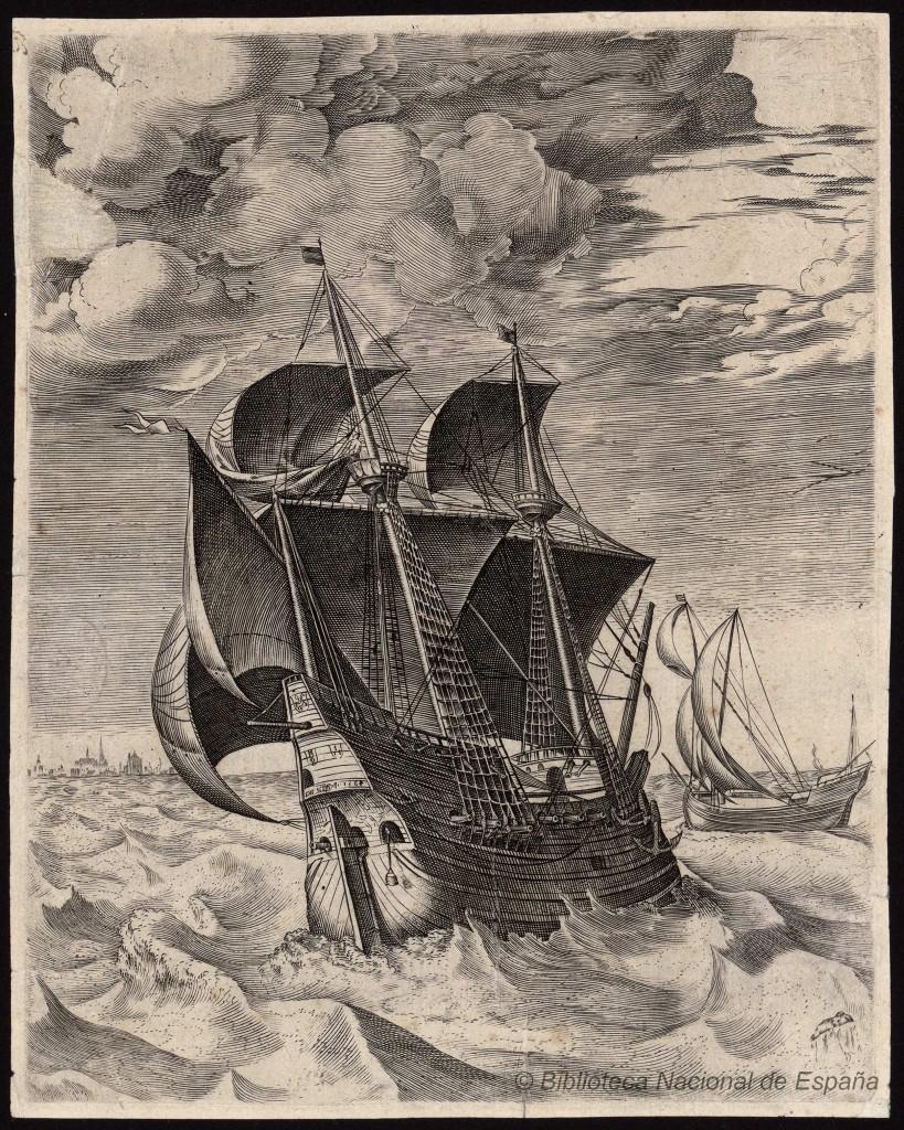 Una embarcación típica del Mar del Norte en el siglo XVI. Grabado de  F.Hus y P.Brueghel. Fuente: Biblioteca Digital Hispánica.