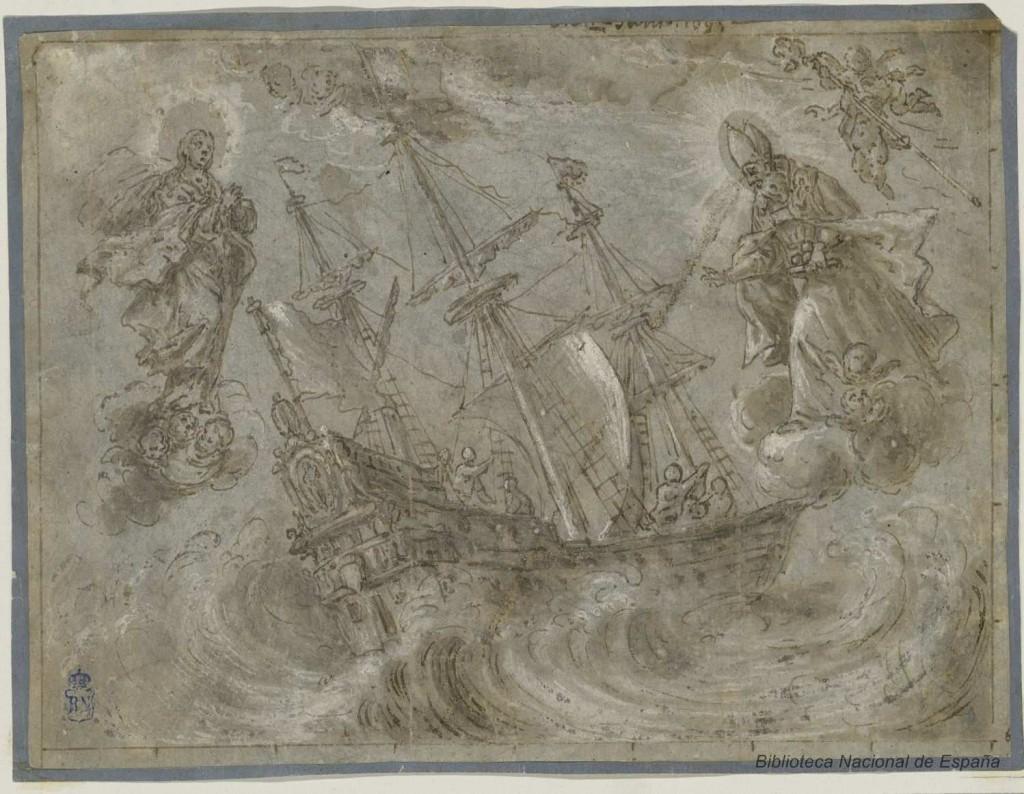 Embarcación de tres palos socorrida por la Virgen y San Nicolás. El Frederick no tuvo la misma suerte que el barco de este grabado de Juan Antonio Conchillos. Fuente: Biblioteca Digital Hispánica.
