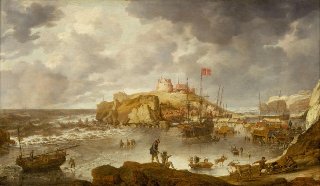 """El puerto de Arcángel, Bonaventura Peeters (1644). Fuente: Royal Museums Greenwich. Ojo a dos detalles. En puerto, una embarcación con bandera danesa, fruto del intercambio de conocimiento con esta nación. Y mirad el mar. El mar de invierno en Arcángel no es precisamente """"navegable""""."""