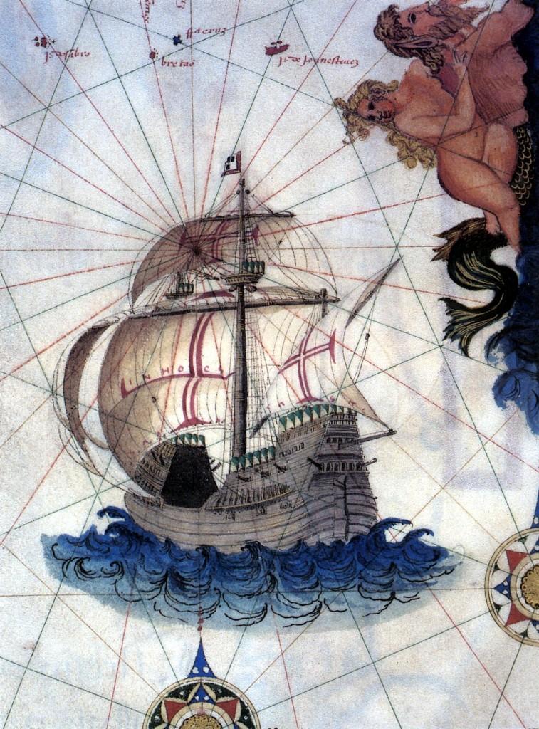 Representación de una carraca portuguesa de mediados del XVI