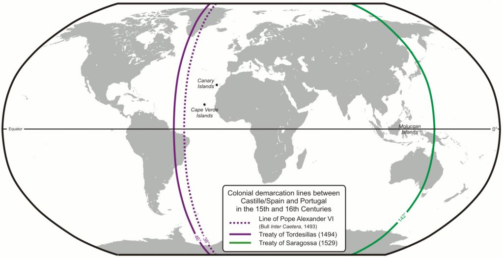 El mundo repartido según los tratados de Tordesillas y Zaragoza entre Portugal y la Monarquía Hispánica.