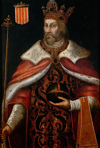Pedro III de Aragon en pintura de Filippo Ariosto. Extraída de: Puebla de Castro