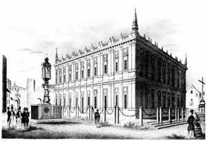 El Consulado de Sevilla, en un dibujo de Joaquín Guichot sobre 1860. Extraída de alma mater hispalense