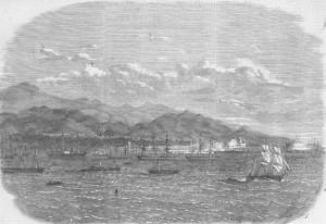 El Callao en 1865. Fuente: http://perusigloxix.blogspot.com.es/2013/07/puerto-del-callao.html