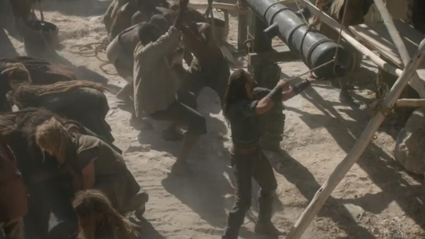 Charles Vane preparando junto a sus hombres la defensa del puerto de Nassau.
